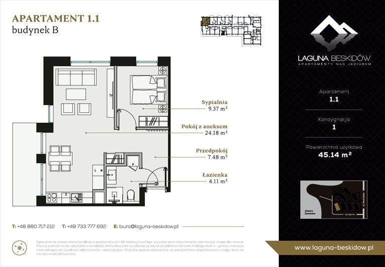 Nowe mieszkanie dwupokojowe Laguna Beskidów Apartamenty Nad Jeziorem Szczyrk  45m2 Foto 3
