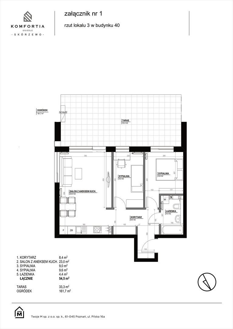 Nowe mieszkanie trzypokojowe KOMFORTIA  Osiedle SKÓRZEWO Skórzewo, Kozierowskiego 40-42  55m2 Foto 2