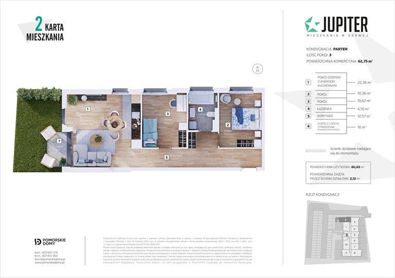 Nowe mieszkanie trzypokojowe Jupiter Gdańsk, Osowa, Galaktyczna 20  63m2 Foto 10