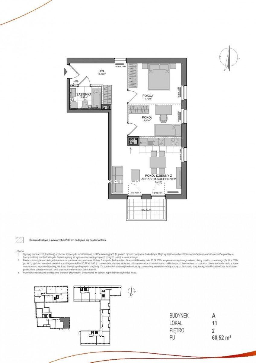 Mieszkanie trzypokojowe na sprzedaż Gdańsk, Wrzeszcz, Adama Mickiewicza  61m2 Foto 2