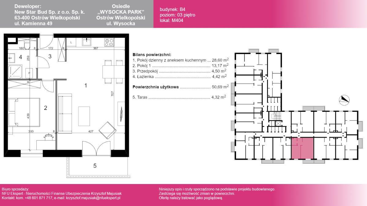 Mieszkanie dwupokojowe na sprzedaż Ostrów Wielkopolski, Wysocka  51m2 Foto 1