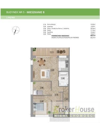 Mieszkanie trzypokojowe na sprzedaż Zawada  80m2 Foto 7