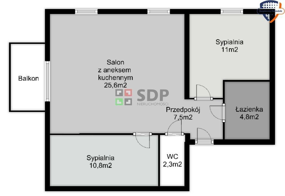 Mieszkanie trzypokojowe na sprzedaż Wrocław, Krzyki, Jagodno  61m2 Foto 2