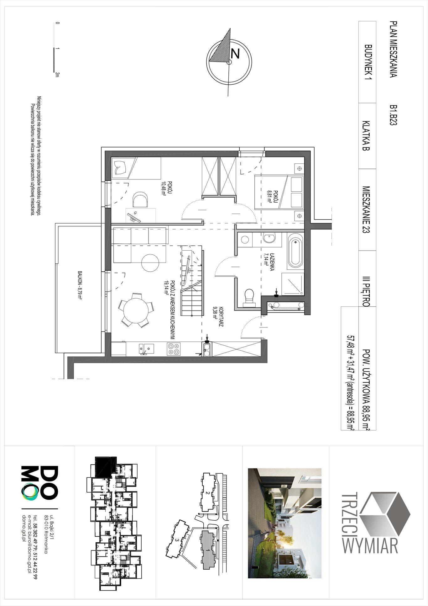 Mieszkanie czteropokojowe  na sprzedaż Pruszcz Gdański, Rotmanka, Zaczarowana  89m2 Foto 2