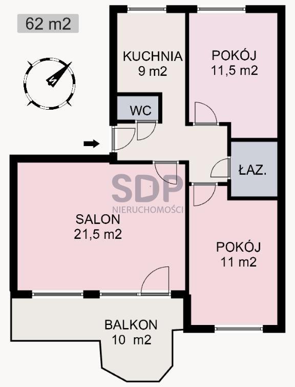 Mieszkanie trzypokojowe na sprzedaż Wrocław, Psie Pole, Różanka, Chorwacka  62m2 Foto 10