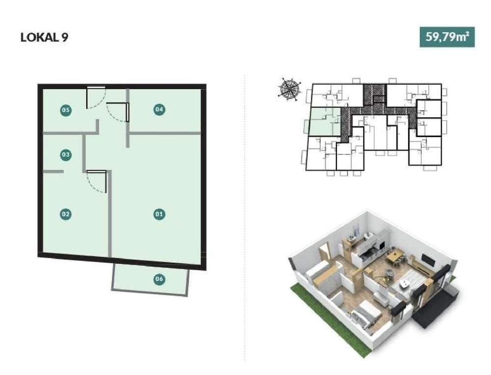 Mieszkanie dwupokojowe na sprzedaż Poznań, Górczyn  60m2 Foto 5