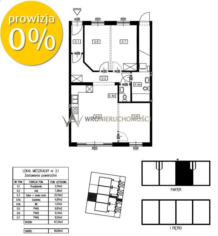 Mieszkanie czteropokojowe  na sprzedaż Oława  67m2 Foto 1
