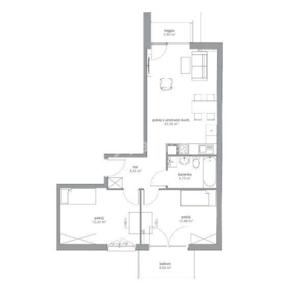 Mieszkanie trzypokojowe na sprzedaż Katowice, Koszutka, Opolska  58m2 Foto 2