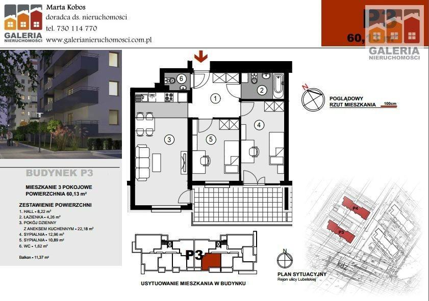 Mieszkanie trzypokojowe na sprzedaż Rzeszów, Staromieście, Lubelska  60m2 Foto 1