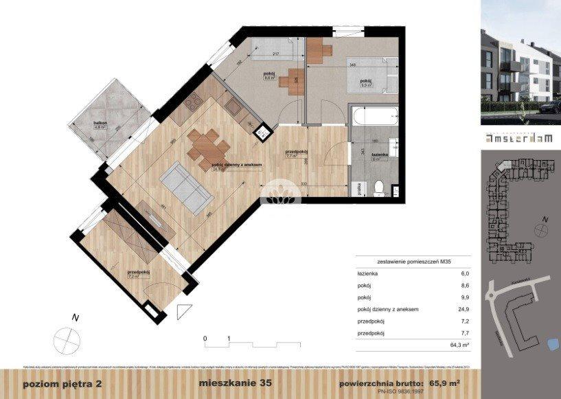 Mieszkanie trzypokojowe na sprzedaż Bydgoszcz, Siedlecka  66m2 Foto 1