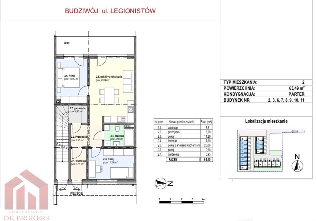 Mieszkanie trzypokojowe na sprzedaż Rzeszów, Budziwój, Legionistów  63m2 Foto 5