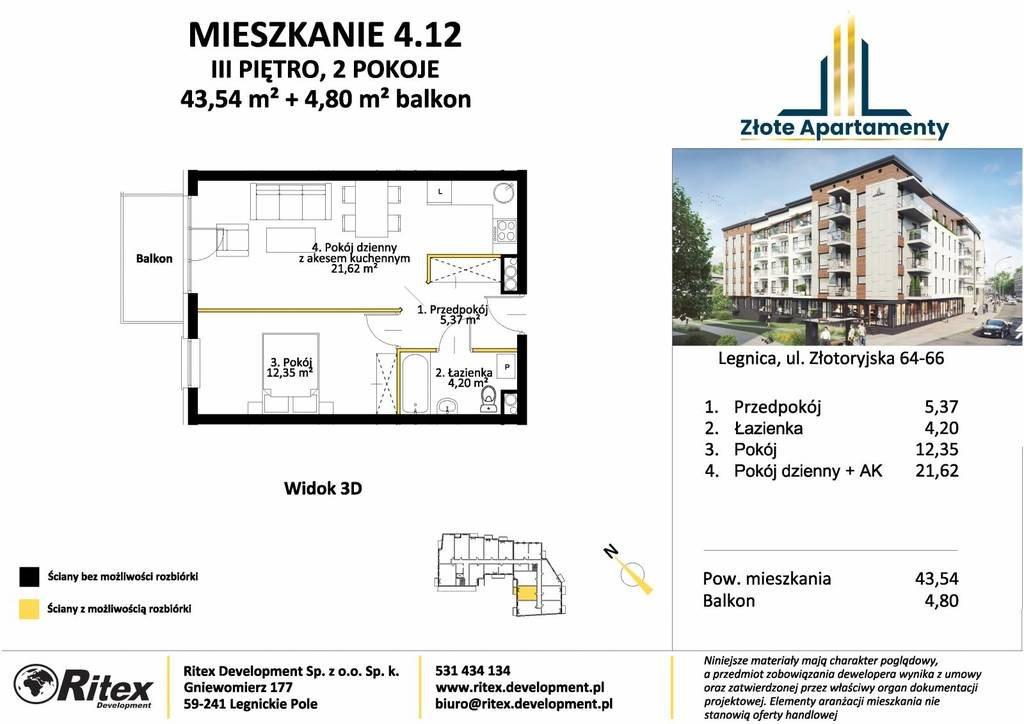 Mieszkanie dwupokojowe na sprzedaż Legnica, Tarninów, Złotoryjska  44m2 Foto 2