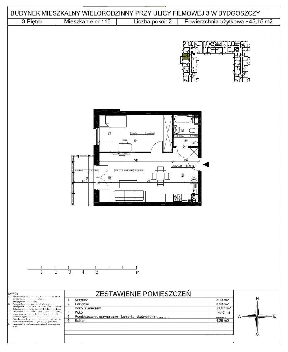 Mieszkanie dwupokojowe na sprzedaż Bydgoszcz, Bartodzieje Małe, Filmowa  45m2 Foto 5