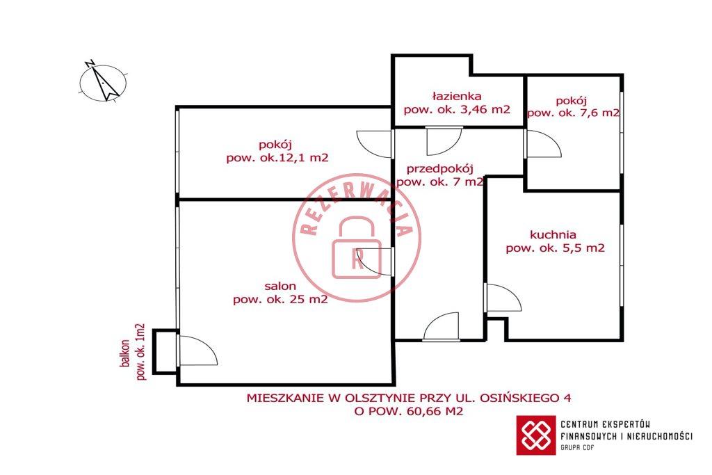 Mieszkanie trzypokojowe na sprzedaż Olsztyn, ks. Wacława Osińskiego  61m2 Foto 9
