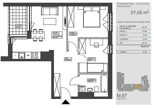 Mieszkanie trzypokojowe na sprzedaż Bydgoszcz, Bartodzieje Wielkie, Ceramiczna  57m2 Foto 9