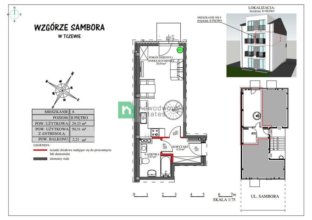 Mieszkanie dwupokojowe na sprzedaż Tczew, Sambora  50m2 Foto 9