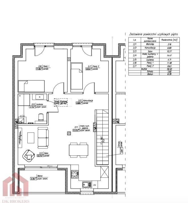 Mieszkanie dwupokojowe na sprzedaż Zaczernie  59m2 Foto 10