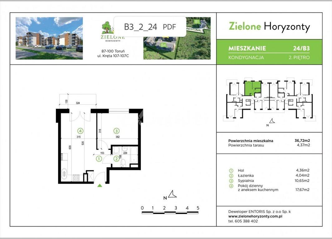 Mieszkanie dwupokojowe na sprzedaż Toruń, Kręta  37m2 Foto 3