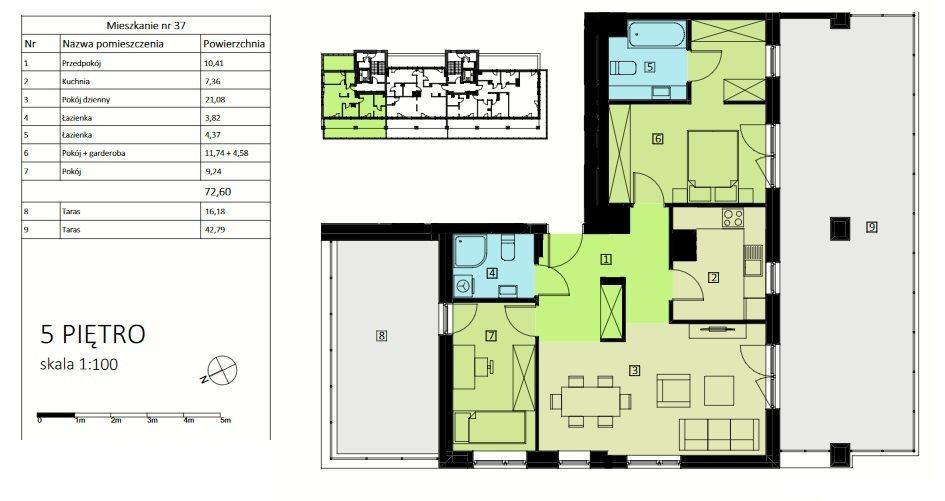 Mieszkanie trzypokojowe na sprzedaż Rzeszów, Urocza  72m2 Foto 2