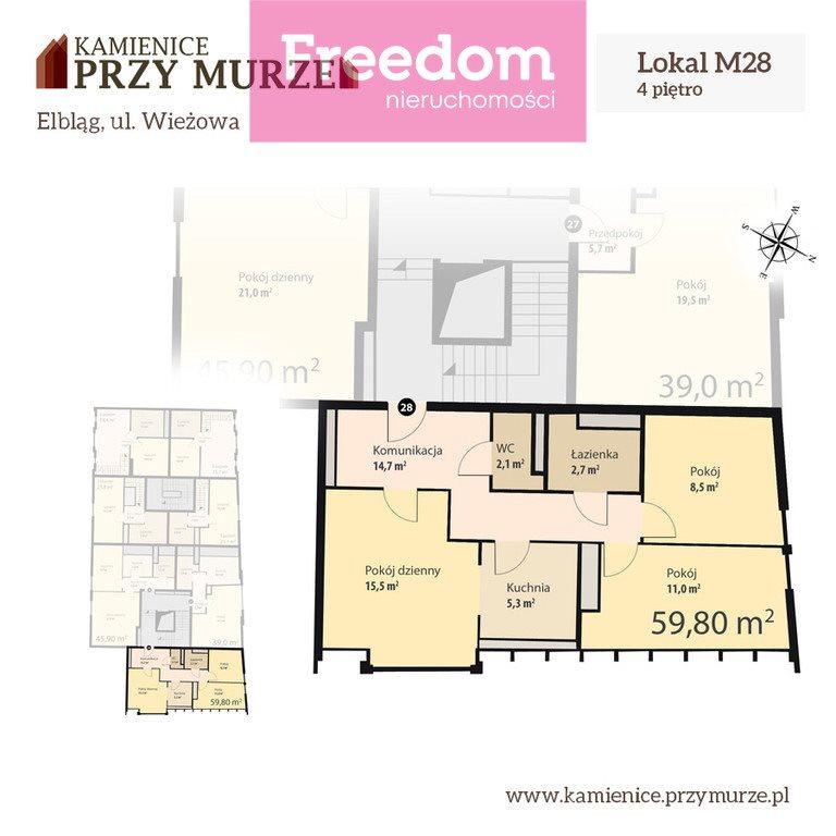Mieszkanie trzypokojowe na sprzedaż Elbląg, Wieżowa  60m2 Foto 4