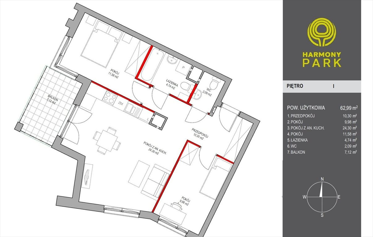 Mieszkanie trzypokojowe na sprzedaż Warszawa, Wyczółki, Kłobucka  63m2 Foto 14