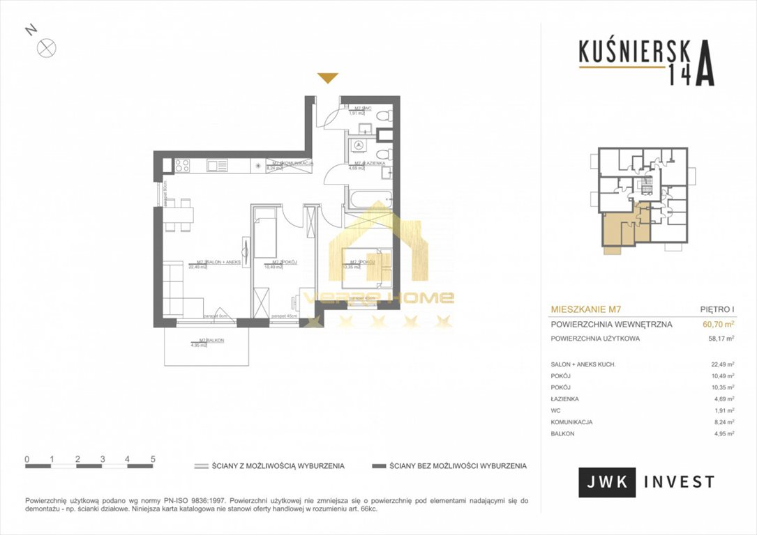 Mieszkanie trzypokojowe na sprzedaż Gdynia, Obłuże, Kuśnierska  61m2 Foto 6
