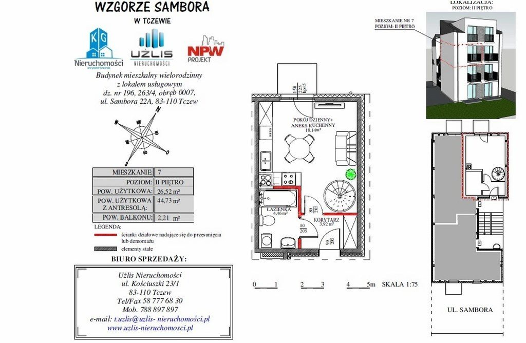 Mieszkanie dwupokojowe na sprzedaż Tczew, Sambora  45m2 Foto 2