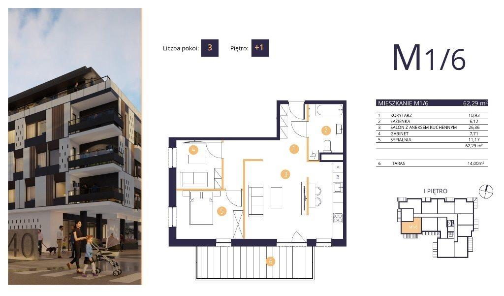 Mieszkanie trzypokojowe na sprzedaż Rzeszów, Strażacka  62m2 Foto 2