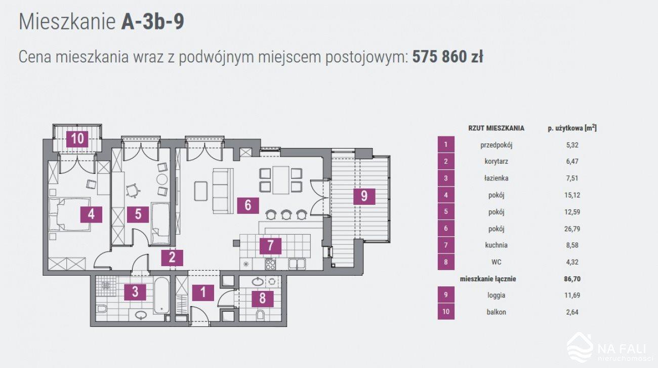 Mieszkanie trzypokojowe na sprzedaż Koszalin, Panorama  87m2 Foto 10