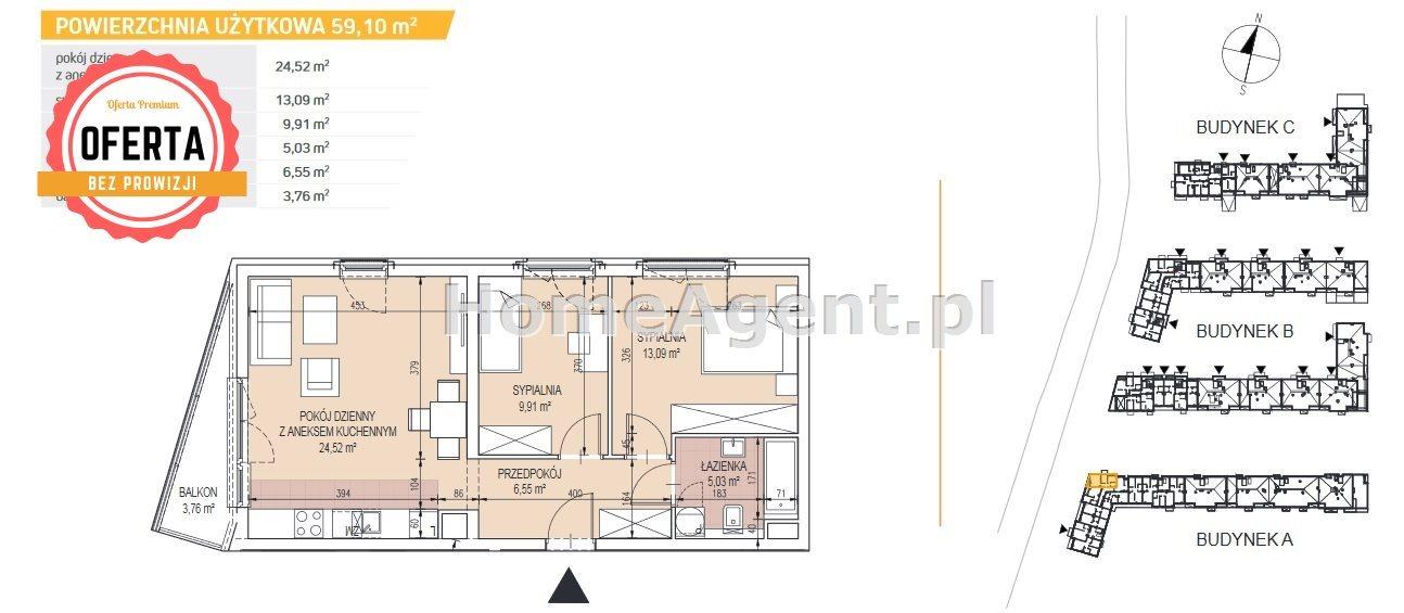 Mieszkanie trzypokojowe na sprzedaż Kraków, Podgórze, Bonarka  59m2 Foto 2