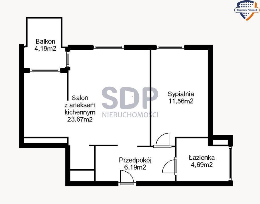 Mieszkanie dwupokojowe na sprzedaż Wrocław, Fabryczna, Żerniki, Hansa Poelziga  47m2 Foto 3