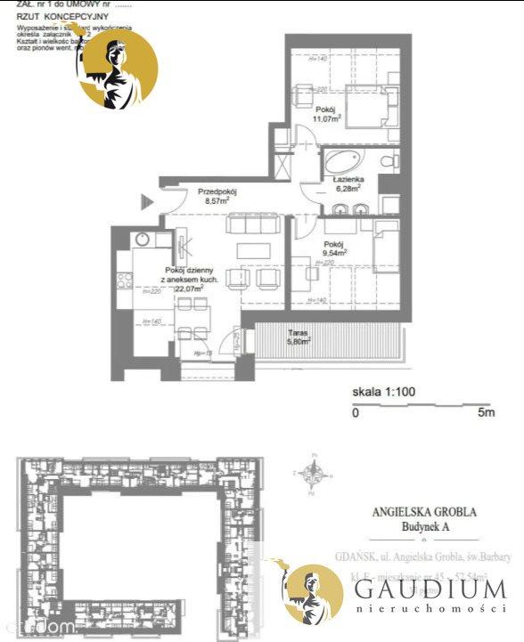 Mieszkanie trzypokojowe na sprzedaż Gdańsk, Śródmieście, św. Barbary  58m2 Foto 2