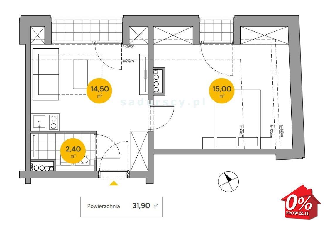Mieszkanie dwupokojowe na sprzedaż Kraków, Stare Miasto, Stare Miasto, Wita Stwosza  32m2 Foto 3