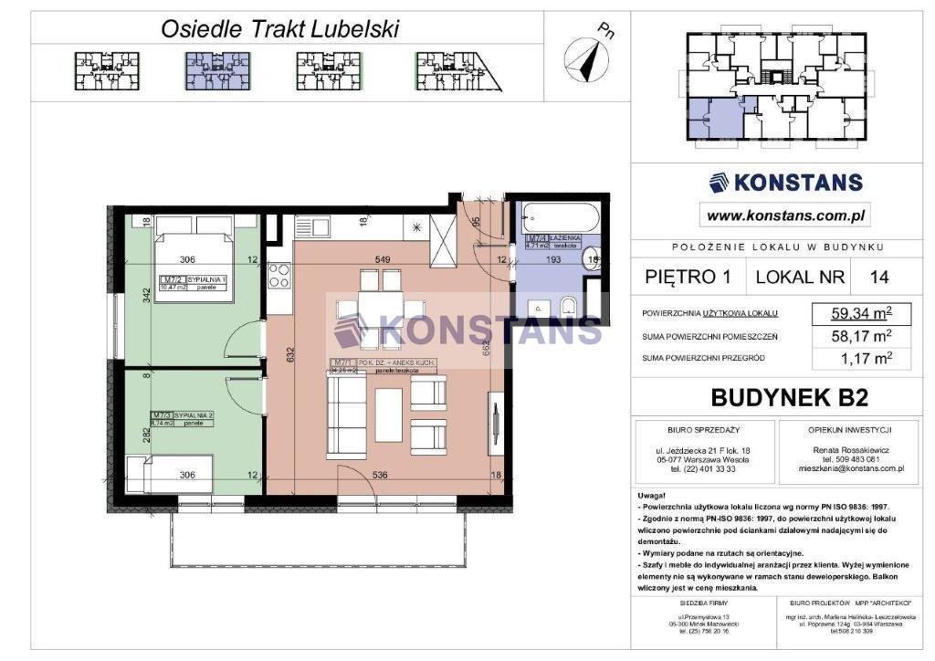Mieszkanie trzypokojowe na sprzedaż Warszawa, Wawer, Trakt Lubelski  59m2 Foto 4