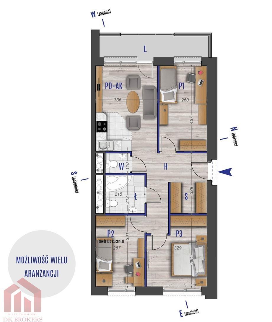 Mieszkanie czteropokojowe  na sprzedaż Rzeszów, Przybyszówka, Błogosławionej Karoliny  68m2 Foto 2