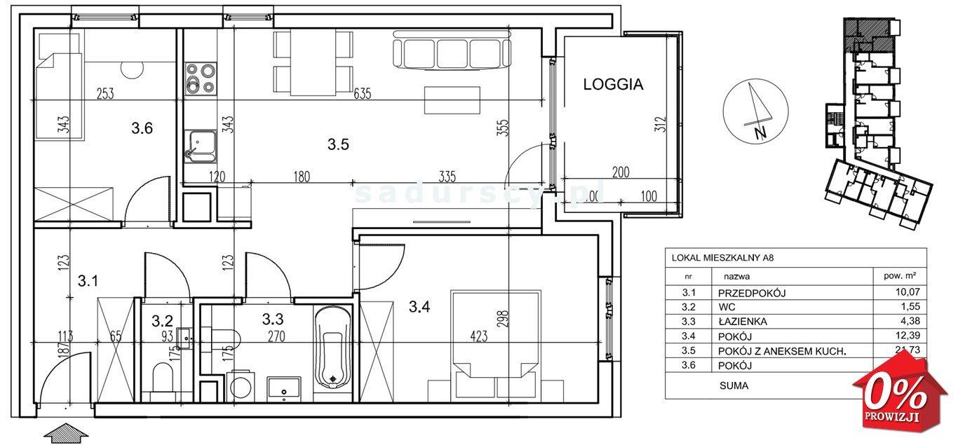 Mieszkanie trzypokojowe na sprzedaż Kraków, Podgórze, Płaszów, Saska -  okolice  59m2 Foto 3