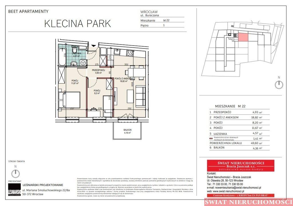 Mieszkanie trzypokojowe na sprzedaż Wrocław, Krzyki, Buraczana  50m2 Foto 2