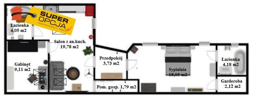 Mieszkanie trzypokojowe na sprzedaż Kraków, Stare Miasto, Strzelecka  63m2 Foto 2