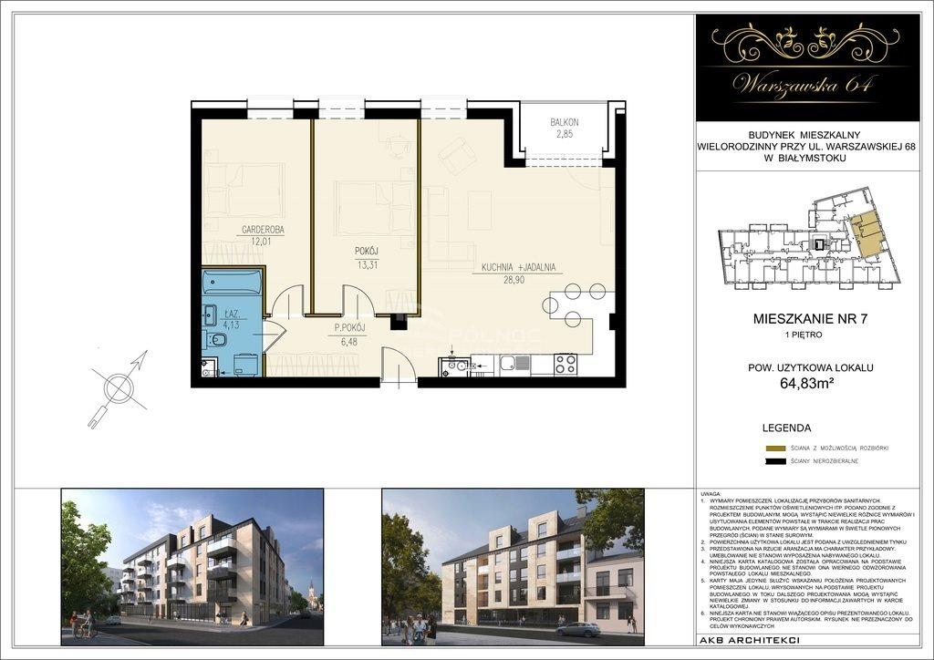 Mieszkanie trzypokojowe na sprzedaż Białystok, Centrum, Warszawska  65m2 Foto 3