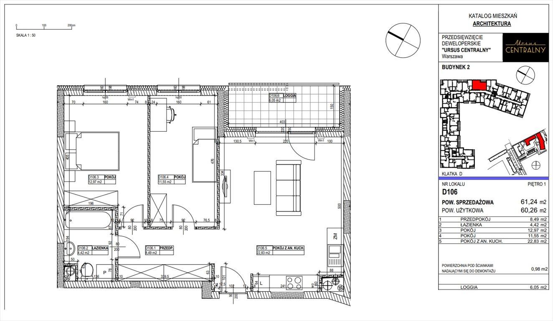Mieszkanie trzypokojowe na sprzedaż Warszawa, Ursus, Gierdziejewskiego 23  61m2 Foto 1