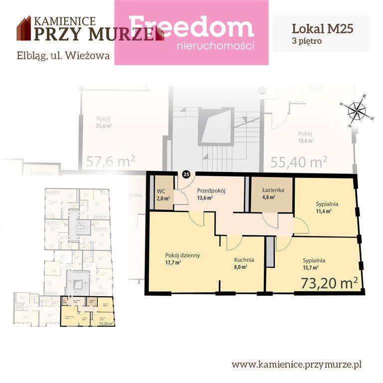 Mieszkanie trzypokojowe na sprzedaż Elbląg, Wieżowa  73m2 Foto 4
