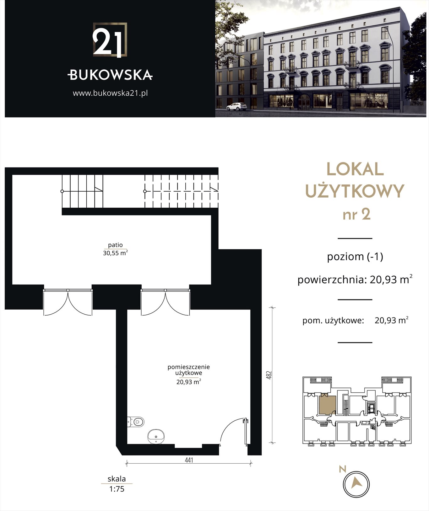 Lokal użytkowy na sprzedaż Poznań, Jeżyce, Bukowska 21  21m2 Foto 2