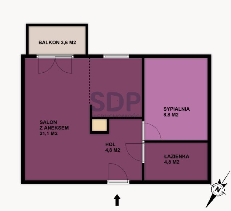 Mieszkanie dwupokojowe na sprzedaż Wrocław, Krzyki, Księże Małe, Księska  40m2 Foto 2