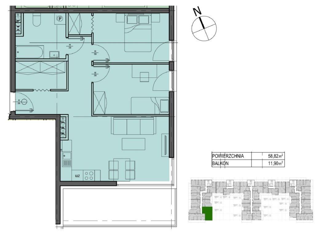 Mieszkanie trzypokojowe na sprzedaż Kielce, Oskara Kolberga  59m2 Foto 4
