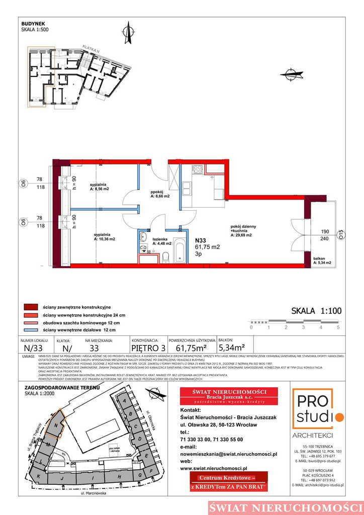 Mieszkanie trzypokojowe na sprzedaż Trzebnica  63m2 Foto 2