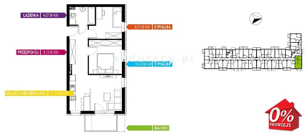 Mieszkanie trzypokojowe na sprzedaż Kraków, Bieżanów-Prokocim, Osiedle Złocień, Osiedle Złocień  49m2 Foto 6