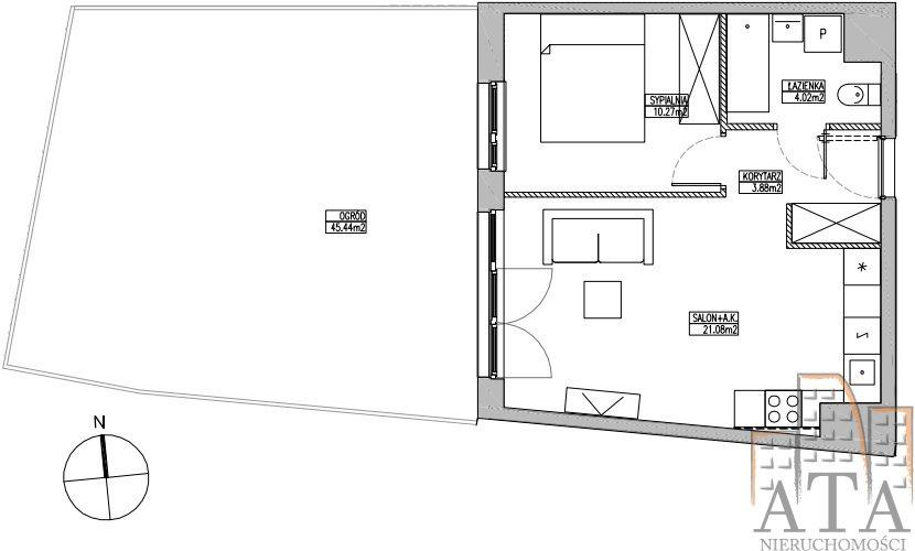 Mieszkanie dwupokojowe na sprzedaż Wrocław, Jagodno, Jagodno, Klasztorna  40m2 Foto 2