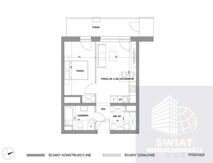 Mieszkanie dwupokojowe na sprzedaż Szczecin, Dąbie  41m2 Foto 2