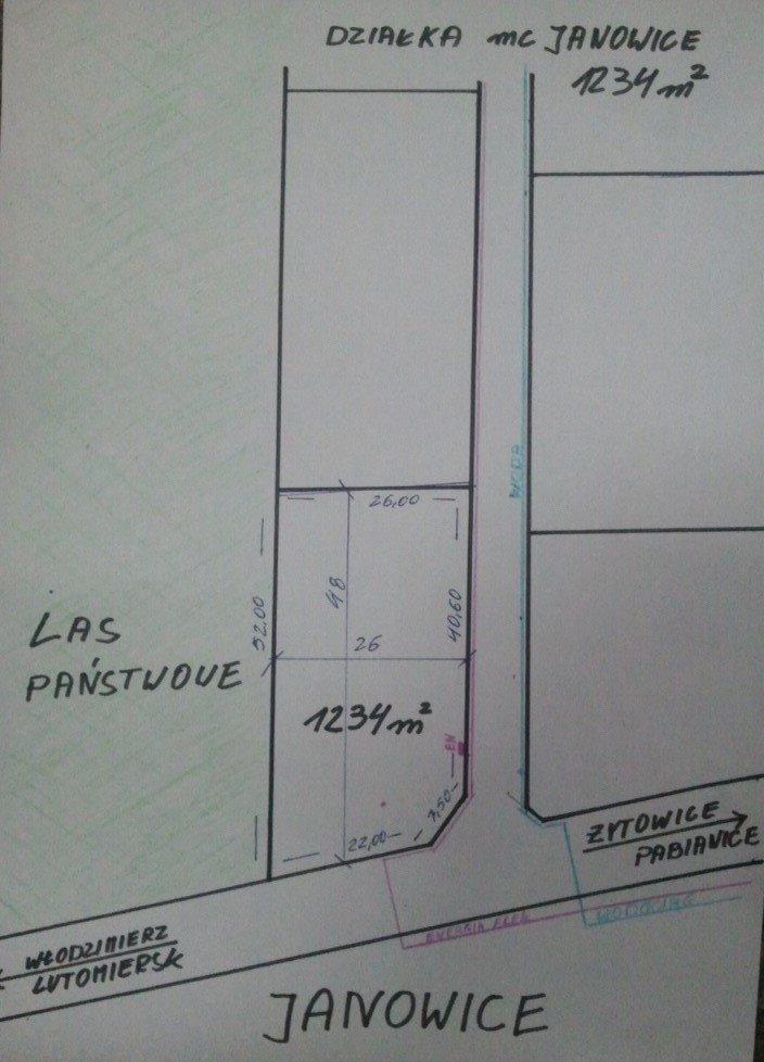 Działka budowlana na sprzedaż Pabianice, JANOWICE  1234m2 Foto 3