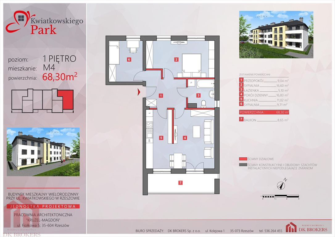 Mieszkanie trzypokojowe na sprzedaż Rzeszów, Drabinianka  68m2 Foto 7